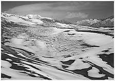 Melting snow on the dunes. Great Sand Dunes National Park and Preserve ( black and white)