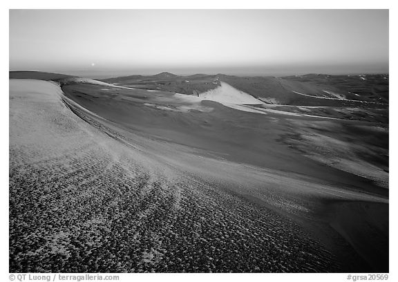 Fresh snow on the dunes at dawn. Great Sand Dunes National Park (black and white)