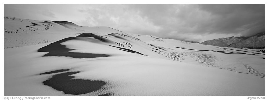 Dune field covered by snow. Great Sand Dunes National Park and Preserve (black and white)