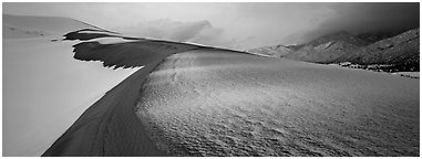 Sand dune scenery in winter. Great Sand Dunes National Park (Panoramic black and white)