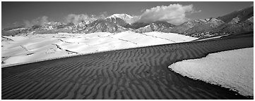 Scenic view of dunes in winter. Great Sand Dunes National Park (Panoramic black and white)