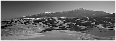 Sand dunes and Sangre de Christo mountains in winter. Great Sand Dunes National Park (Panoramic black and white)