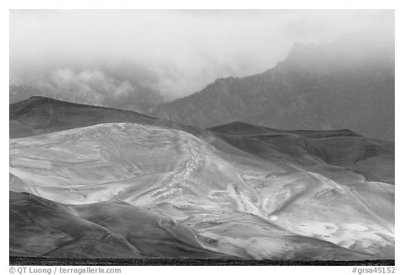 Dunes, ridge and clouds. Great Sand Dunes National Park and Preserve (black and white)