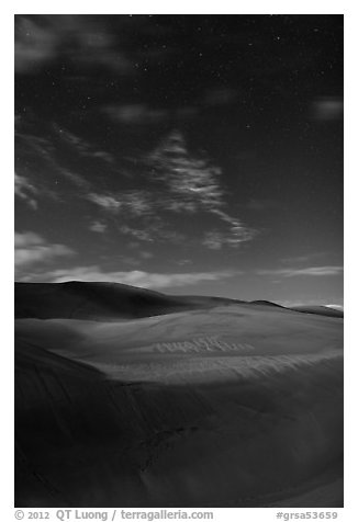 Dunes with starry sky at night. Great Sand Dunes National Park and Preserve (black and white)