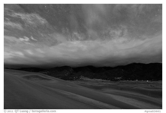 Dunes and clouds at night. Great Sand Dunes National Park and Preserve (black and white)