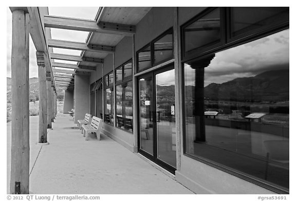 Visitor center and reflexions in large windows. Great Sand Dunes National Park and Preserve (black and white)