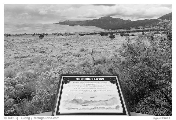 Dune field interpretative sign. Great Sand Dunes National Park and Preserve (black and white)