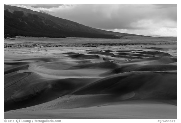 Dune field and valley, late afternoon. Great Sand Dunes National Park, Colorado, USA.