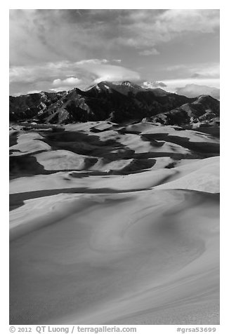 Mount Herard and dune field at sunset. Great Sand Dunes National Park and Preserve (black and white)