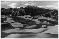 Last light tover dune field and Mount Herard. Great Sand Dunes National Park and Preserve ( black and white)