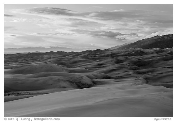 Dunes and sunset clouds. Great Sand Dunes National Park and Preserve (black and white)