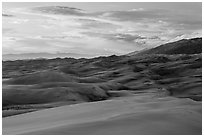 Dunes and sunset clouds. Great Sand Dunes National Park and Preserve ( black and white)