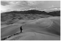 Park visitor looking, dune field. Great Sand Dunes National Park, Colorado, USA. (black and white)
