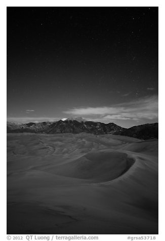Dunes and Sangre de Cristo Mountains at night. Great Sand Dunes National Park and Preserve (black and white)