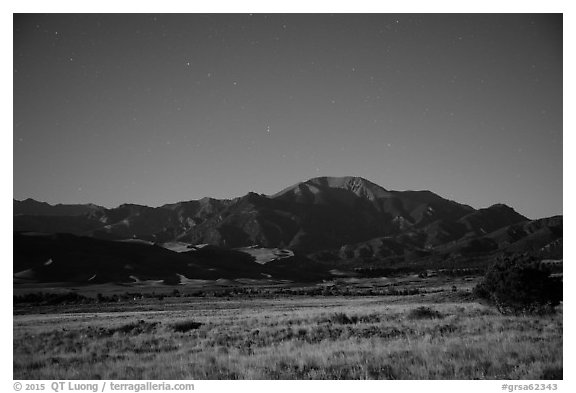 Dunefield and Mount Herard at night. Great Sand Dunes National Park and Preserve (black and white)