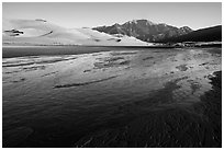 Medano Creek, dunefield, and mountains in autumn. Great Sand Dunes National Park and Preserve ( black and white)