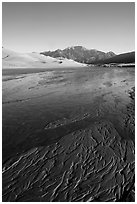 Shallow Medano Creek and sand patterns. Great Sand Dunes National Park and Preserve ( black and white)
