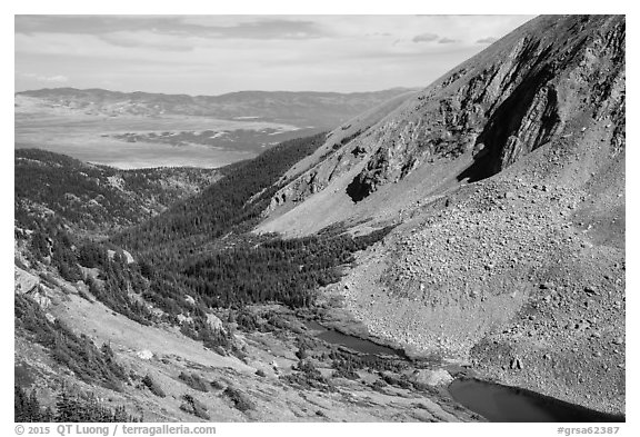 Medano Lakes from above. Great Sand Dunes National Park and Preserve (black and white)