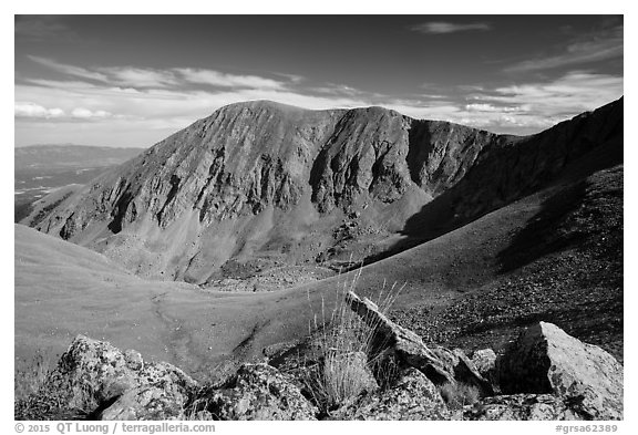 Barren alpine slopes below Mount Herard. Great Sand Dunes National Park and Preserve (black and white)