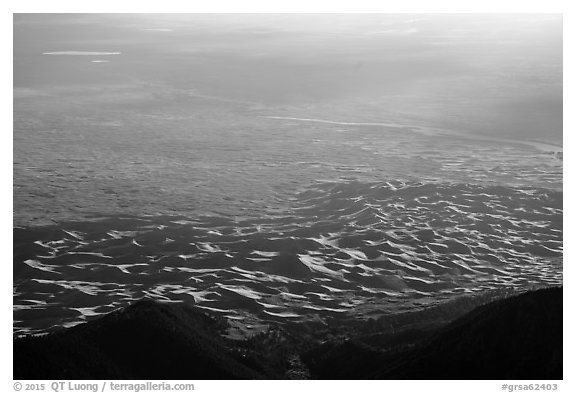 Dunes from above. Great Sand Dunes National Park and Preserve (black and white)