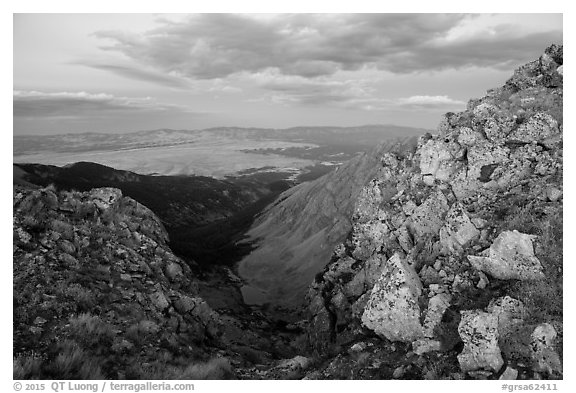 Ridge and Medano Lakes from Mount Herard. Great Sand Dunes National Park and Preserve (black and white)