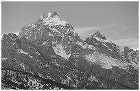 Grand Teton with snow, winter sunset. Grand Teton National Park, Wyoming, USA. (black and white)