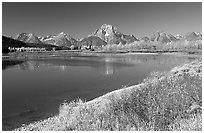 Fall colors and reflections of Mt Moran and Teton range in Oxbow bend. Grand Teton National Park, Wyoming, USA. (black and white)