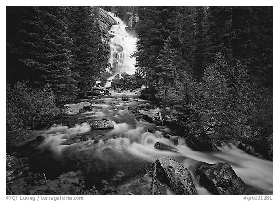 Hidden Falls. Grand Teton National Park (black and white)
