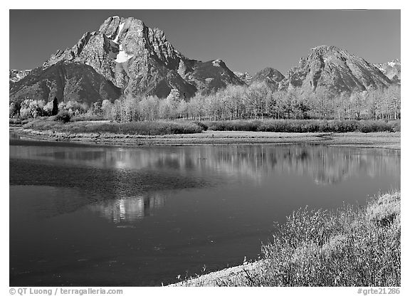 Mt Moran reflected in Oxbow bend in autumn. Grand Teton National Park (black and white)