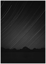 Star trails and Teton range. Grand Teton National Park, Wyoming, USA. (black and white)