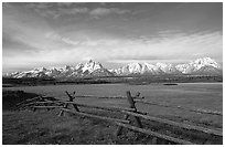 Fence, meadow, and Teton Range. Grand Teton National Park ( black and white)