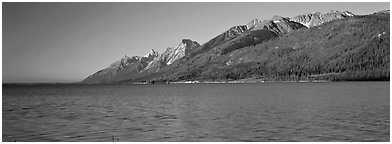 Lake and mountain range. Grand Teton National Park (Panoramic black and white)