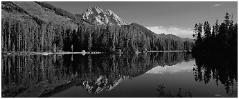 Mountain landscape with Lake reflection. Grand Teton National Park (Panoramic black and white)
