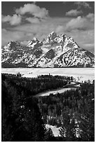 Snake River bend and Grand Teton in winter. Grand Teton National Park, Wyoming, USA. (black and white)