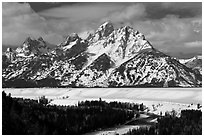 Tetons in winter. Grand Teton National Park ( black and white)