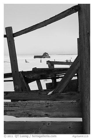 Fences, winter plain, and Murphy homestead. Grand Teton National Park (black and white)