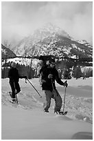 Couple snowshowing with baby. Grand Teton National Park, Wyoming, USA. (black and white)