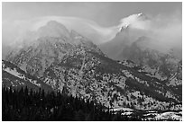 South Teton and Grand Teton in winter. Grand Teton National Park ( black and white)