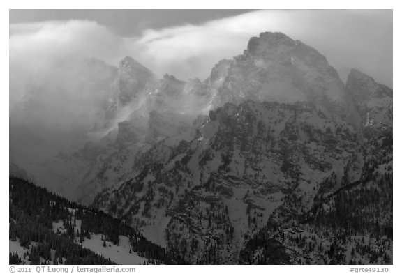 Cloud-capped Teton range, winter afternoon. Grand Teton National Park (black and white)