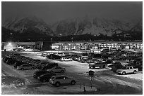 Jackson Hole airport at night. Grand Teton National Park, Wyoming, USA. (black and white)