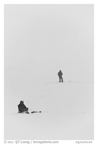 Ice fishermen on Frozen Jackson Lake. Grand Teton National Park (black and white)