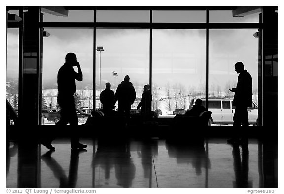 Looking out Jackson Hole Airport lobby. Grand Teton National Park (black and white)
