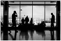 Looking out Jackson Hole Airport lobby. Grand Teton National Park, Wyoming, USA. (black and white)