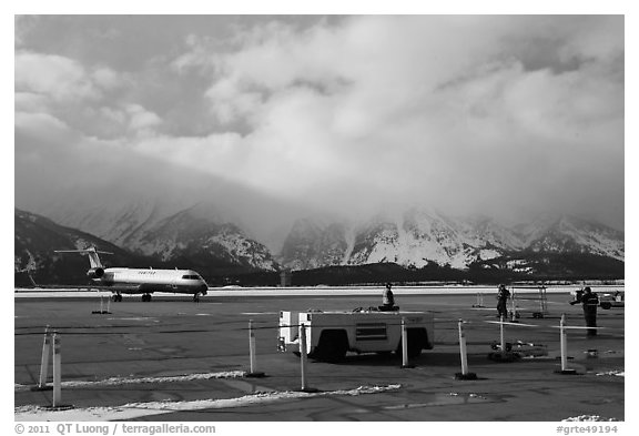 Jackson Hole Airport and cloud-capped Teton Range. Grand Teton National Park (black and white)