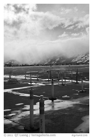 Jackson Hole Airport tarmac, winter. Grand Teton National Park (black and white)