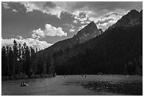 Water recreation, String Lake. Grand Teton National Park ( black and white)