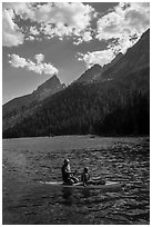 Family kayaking, String Lake. Grand Teton National Park ( black and white)