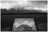 Shrinking Teton Glaciers interpretive sign. Grand Teton National Park ( black and white)