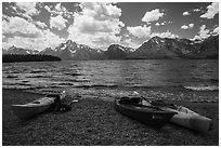 Kayaks on shores of Jackson Lake. Grand Teton National Park ( black and white)