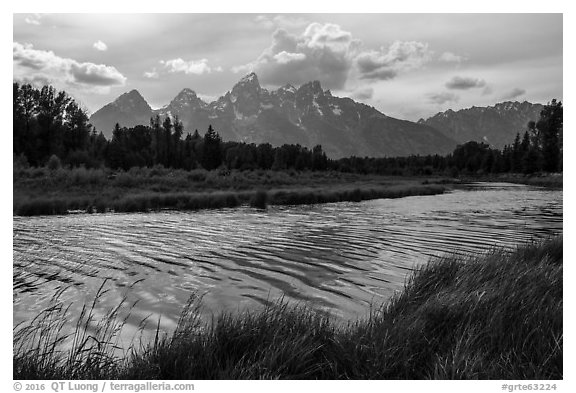 Teton Range in summer from Schwabacher Landing, afternoon. Grand Teton National Park (black and white)